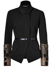 $3680 Donna Karan New York Black Jacket With Embroidered Gold Cuffs 6US