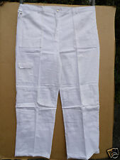 "PROFESSIONAL WHITE 100%COTTON DRILL PAINTERS/DECORATORS TROUSERS 46""WAIST 31""LEG"