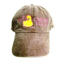 Bald Chicks Rock Baseball Hat Chemo Washed Brown Cancer Awareness Embroidery New