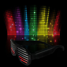 Sound Activated Shutter Flashing LED Multicolor Shades Rave Glasses