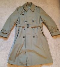 "Men's Military All Weather Trench/Rain/Dress Coat 40R Khaki  44"" Collar 2 Bottom"