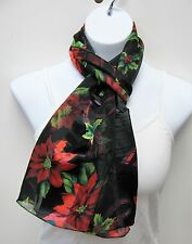 Wholesale 6 PCS Black & Red Poinsettia Print Scarves Christmas Scarf Lot # 6022