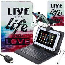 Live Life Micro USB Keyboard PU Leather Case Cover For LG G Pad F 8.0 V495 V496