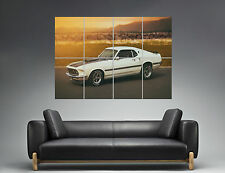 Ford Mustang Mach 1 White Car Wall Art Poster Grand format A0