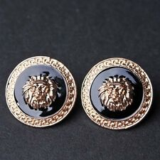 Retro Fashion Gold Plated Lion Stud Earrings Round Pattern Edge Ear Stud Gift