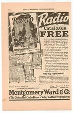 Vintage, Original, 1923 -   Montgomery Ward Radio Catalogue Advertisement