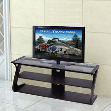 3-Tier Tempered Glass Top TV Stand Entertainment Center Media Console Furniture
