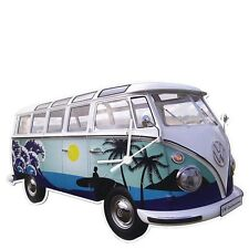 VW T1 Bus Camper Van Shaped SURF Retro Wall Clock VW COLLECTION BLUE