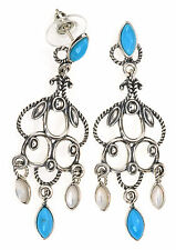 American West Turquoise and Mother-of-Pearl Sterling Silver Dangle Earrings