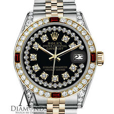 Genuine 26mm Rolex Datejust 18K & SS 2Tone Black String Dial Ruby & Diamond