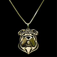 English Bulldog Pendant Necklace Gold Plated ANIMAL RESCUE DONATION