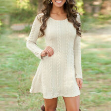 Womens Winter Long Sleeve Jumper Tops Ladies Slim Knitted Sweater Mini Dress New
