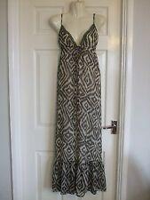 Womens Brown Cream Long Maxi Summer Dress - Size 10 Feminine Smart Evening Party