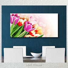 Tulipani colorati QUADRO MODERNO 90x45 STAMPA TELA QUADRI ARREDO SPA CASA FIORI