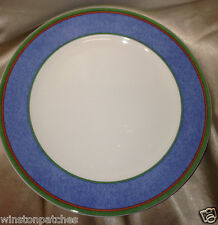 "VILLEROY & BOCH TIPO VIVA BLUE DINNER PLATE 10 1/2"" BLUE BAND GREEN RED LINES"