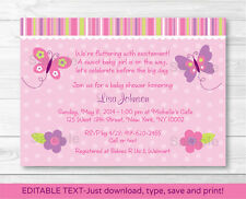 Baby Girl Pink Butterfly Printable Baby Shower Invitation Editable PDF