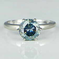 1.80 ct Lovely Light Blue Color Real Moissanite .925 Silver Engagement Ring NR10