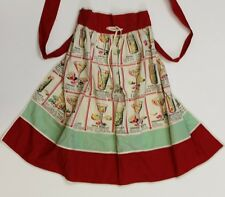 Cherry & Mint Green 'Cocktail Recipes' Apron