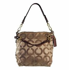 COACH 14147 Brooke Op Art Signature Sateen Hobo Shoulder Bag in Brown