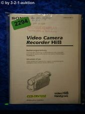 Sony Bedienungsanleitung CCD TRV101E Video 8 Camera Recorder (#2294)