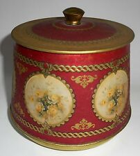 """MEISTER TIN CANISTER LID Vintage Made in England Roses Floral 5.5"""""""
