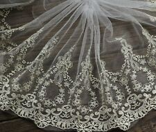 """8.66""""*1Y Gold Thread Embroidered Tulle Lace Trim ,Vintage Lace"""