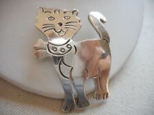 Vintage Mexico Sterling Silver Smiling Cat Brooch  RE402