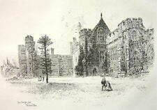 ORIGINAL ETCHING PRINT !! England Kent Orange Court at Penshurst Palace