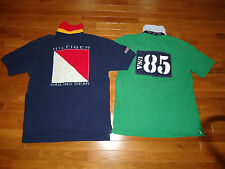 LOT OF 2 RARE VTG TOMMY HILFIGER POLO SHIRTS SIZE L SAILING GEAR 44 TH85 NYC USA