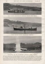 1897 ANTIQUE MILITARY PRINT-  WHITEHAVEN,OUTRIGGER TORPEDO IN ACTION