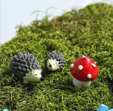 3pcs/set Mini Landscape Hedgehog+Mushroom Plants Fairy Bonsai Garden Ornament