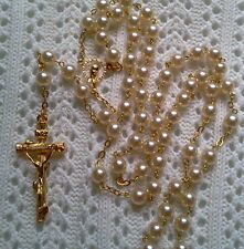 IVORY WHITE GLASS PEARL 18K GOLD PLATED ROSARY - MADE IN CZECH
