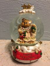 Vintage Angel Bear Musical Water Globe Hark the Herald Angels Sing