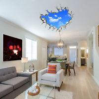 Neu 3D blauer Himmel Weiße Wolken Wand Aufkleber Wandtattoo DIY Fensteraufkleber