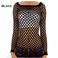 S M L Sexy Fish Net Shirt Club Wear Long Sleeve GOGO Dance Top Blouse