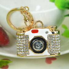 New Camera Keyring Rhinestone Crystal Jewelry Women Bag Buckle Keychain Gift