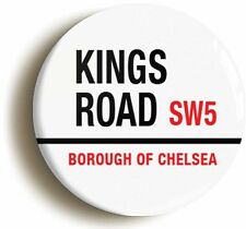 KINGS ROAD CHELSEA BADGE BUTTON PIN (Size is 1inch/25mm diameter) SIXTIES