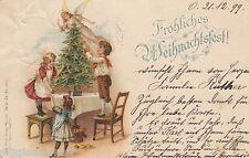 Fröhliches Weihnachtsfest AK 1899 Kinder Weihnachtsbaum Weihnachten 1611248