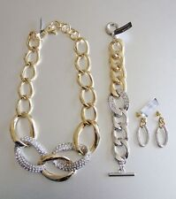 Banana Republic Glamour Crystal Pave Necklace Bracelet Earrings NWOT Set of 3