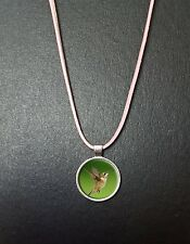 "Hummingbird Pendant On a 18"" Pink Cord Necklace With Clasp Birthday Gift N42"