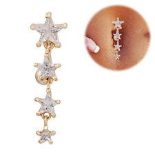 1PC Stars Gold zircon Dangle Belly Button Navel Ring Bar Body Jewelry Rings