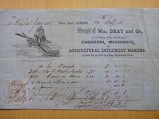 1858-Wm.DRAY and Co LONDON-FATTURA-MACCHINE AGRICOLE