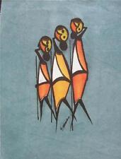 """African Batik Three Hunters Spears Grey Panel Uganda Signed Original 6.5"""" x 8.5"""""""