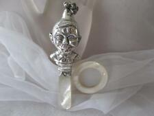 Vintage Antique Victorian Figural Elf Mother of Pearl Baby Rattle & Teether