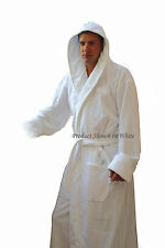 "Men's Royal Blue Hooded Terry Spa Bathrobe - 53"" Length 100% Cotton"