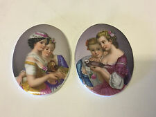 Antique Pair of European Hand Painted Oval Porcelain Plaques Girls w/ Birds
