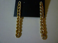 NWT REBECCA MINKOFF Yellow Gold Plate & Pave Crystal Drop Chain Pierced Earrings