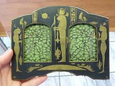 ART DECO EGYPTIAN REVIVAL Brass Inlay Double PHOTO Picture FRAME Antique