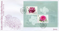 Jersey 2015 FDC Garden Flowers Links China 2v M/S Cover Peony Stamps