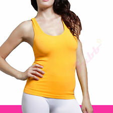 Women Soft Plain Stretch Seamless Ribbed Yoga Sports Racer Back Tank Top Shirt